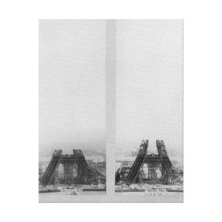 Dos vistas de la construcción de Eiffel Lona Estirada Galerías