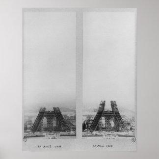 Dos vistas de la construcción de Eiffel Poster