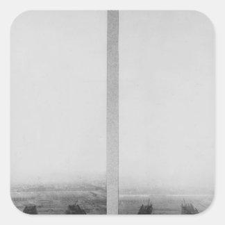 Dos vistas de la construcción de Eiffel Calcomanías Cuadradas