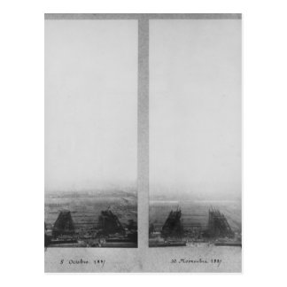 Dos vistas de la construcción de Eiffel Postales