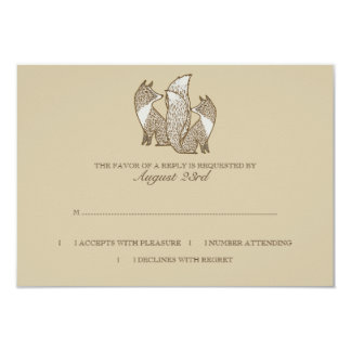 Dos zorros que casan el rsvp de la invitación
