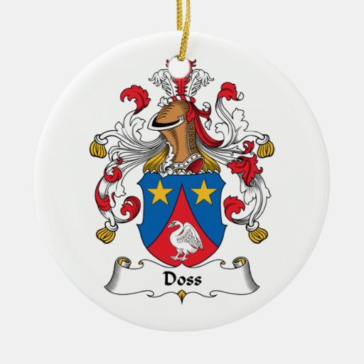 Doss Family Crest Double-Sided Ceramic Round Christmas Ornament