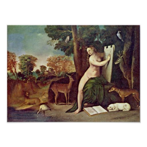 Dosso Dossi - Landscape- Circe and her lovers Print