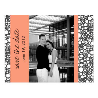 Dot & Block - Custom Save the Date - Coral B & W Post Cards