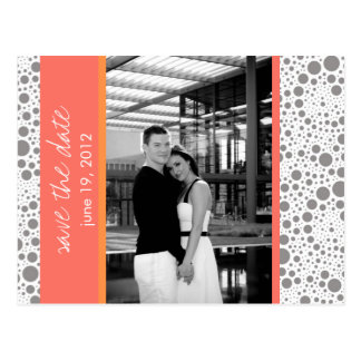 Dot & Block- Custom Save the Date- Coral Tangerine Postcard