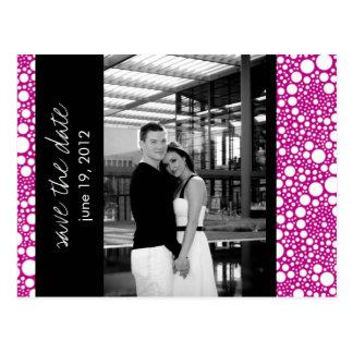 Dot & Block - Custom Save the Date - Fuschia B & W Post Card