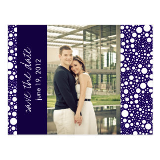 Dot & Block - Custom Save the Date - Navy Post Cards