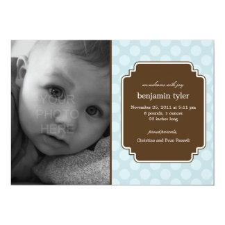 Dot Delight Baby Boy Birth Announcement