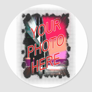 Dot Fade frame template Classic Round Sticker