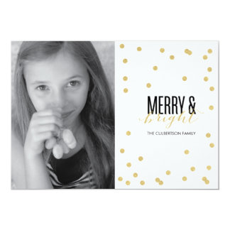 Dot Gold Festive Holiday Photo Card Personalized Invitation