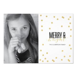"Dot Gold Festive Holiday Photo Card 5"" X 7"" Invitation Card"