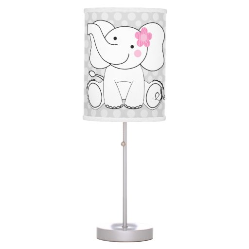 Dot Pattern with Pink Zebra Elephant Lamp
