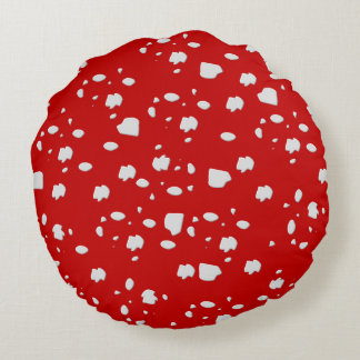 dot pattern with red toadstool mushroom round pillow