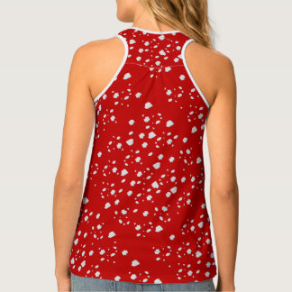 dot pattern with red toadstool mushroom tank top