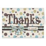 Dot Print and 3D-look Bow Thank You Greeting Card