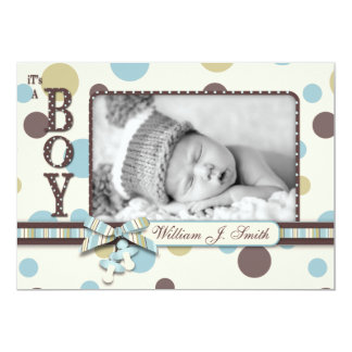 Dot Print with 3D-look Bow Birth Announcement