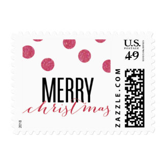 Dot Red Festive Holiday Stamp