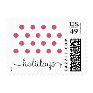 Dot Red Pattern Holiday Stamp