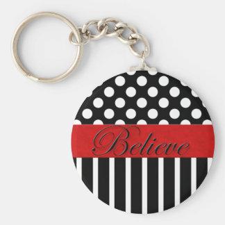 Dot & Strip Believe Keychain