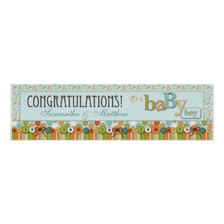 Dot, Stripe, & Diaper Pins Baby Shower Banner Poster
