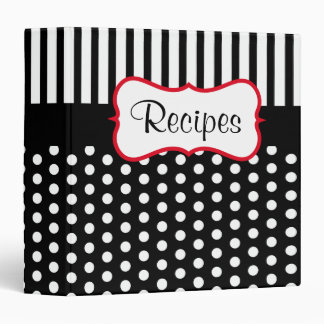 Dot Stripes Recipe Organizer Cookbook Gift Binder
