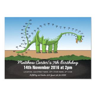 DOT TO DOT DINOSAUR KIDS BIRTHDAY INVITATION