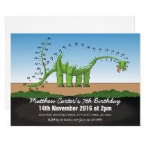 Dot to Dot Dinosaur Kids Birthday Party Invitation