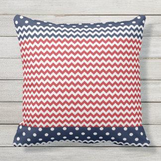 Dots and Chevron Patriotic USA Outdoor Pillow