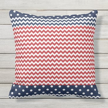 USA Themed Dots and Chevron Patriotic USA Outdoor Pillow