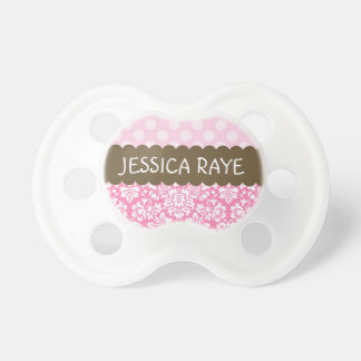 Dots and Damask Baby Pacifier