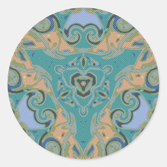 Dots and Spirals Art Design Classic Round Sticker