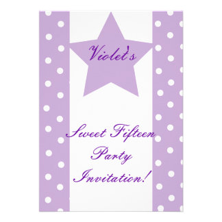 Dots And Star Sweet Fifteen Invitation- Customize