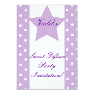 Dots And Star Sweet Fifteen Invitation- Customize 5x7 Paper Invitation Card