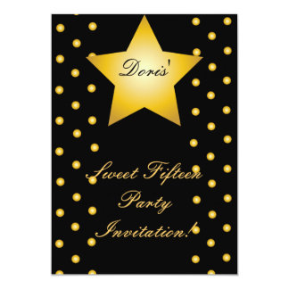 Dots And Star Sweet Fifteen Invitation- Customize Card