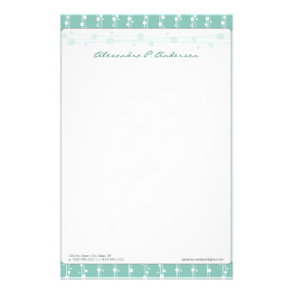 Dots and Straw Aqua Blue Customized Stationery