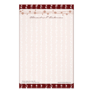 Dots and Straw Crimson Customized Stationery