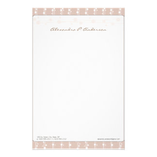 Dots and Straw Dusty Rose Customized Stationery