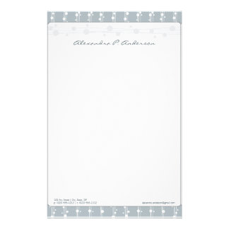 Dots and Straw Slate Grey Customized Stationery
