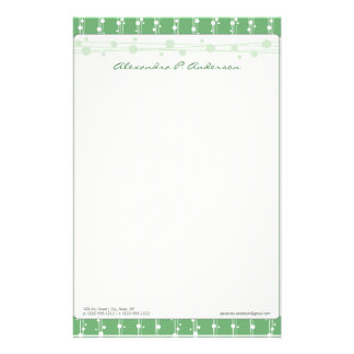 Dots and Straw Vibrant Green Customized Stationery