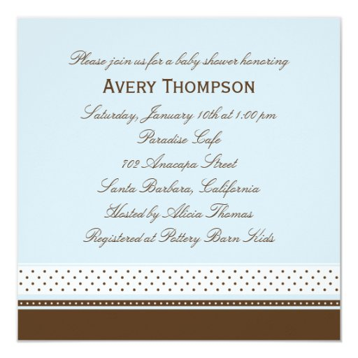 Dots and Stripes Baby Shower Invitation - Blue