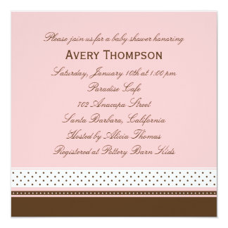 Dots and Stripes Baby Shower Invitation - Pink