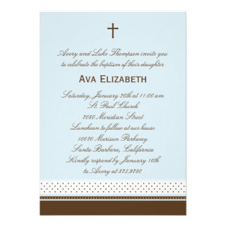 Dots and Stripes Baptism/Christening Invitation Personalized Invite