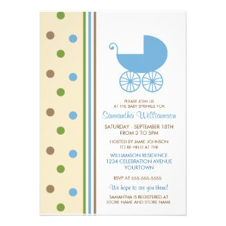 Dots and Stripes (Blue) Baby Sprinkle Invitations