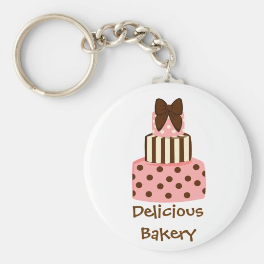 Dots and Stripes Cake Keychain