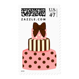 Dots and Stripes Cake Postage Stamp