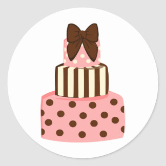 Dots and Stripes Cake Round Stickers