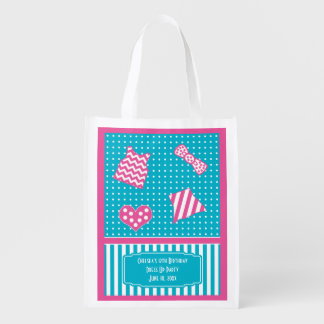 Dots and Stripes Dress Up Birthday turquoise pink Grocery Bag