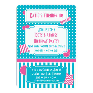 Dots and Stripes Dress Up Party turquoise hot pink Card