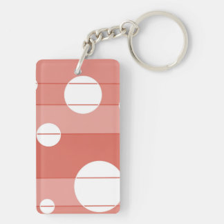 Dots and Stripes in BarnRed Keychain