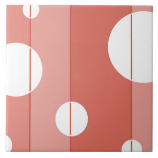 Dots and Stripes in BarnRed Large Square Tile